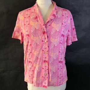 Pink Beach Themed Blouse with Seahorses, Flowers